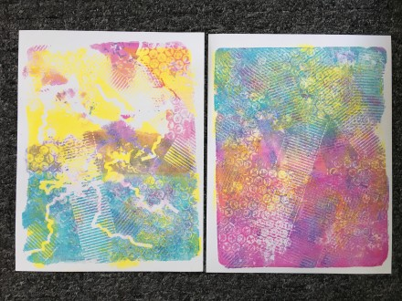 First Gelli Prints - Finished