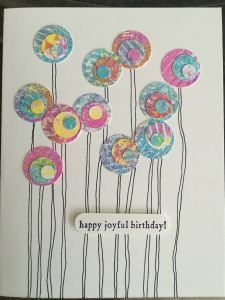 Card using Gelli Plate print circles